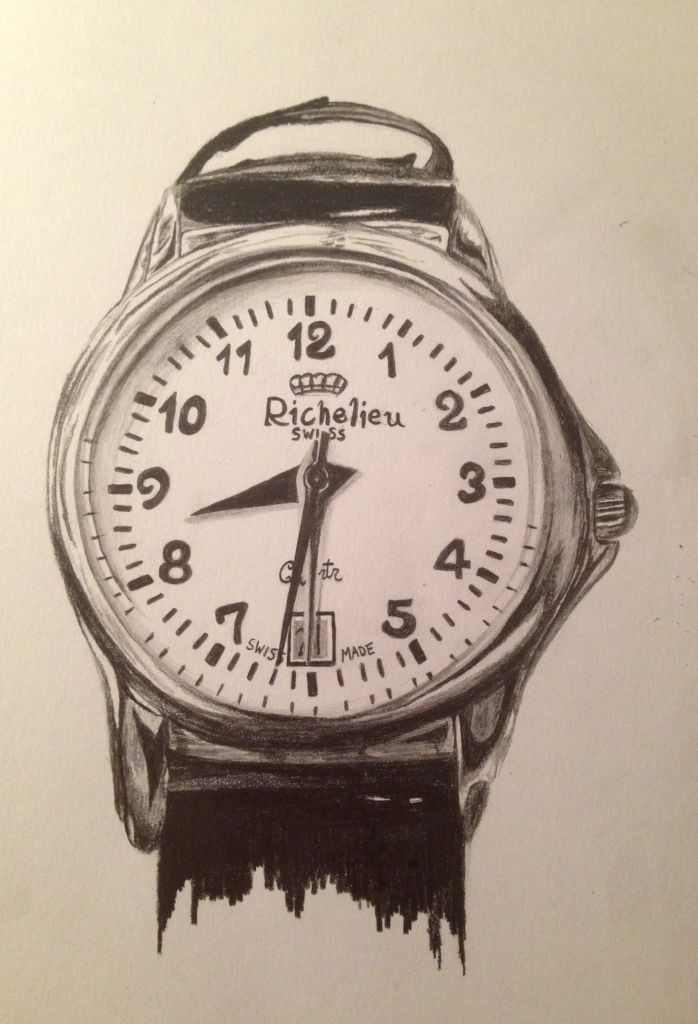 698x1024 Observational Drawing Of A Watch