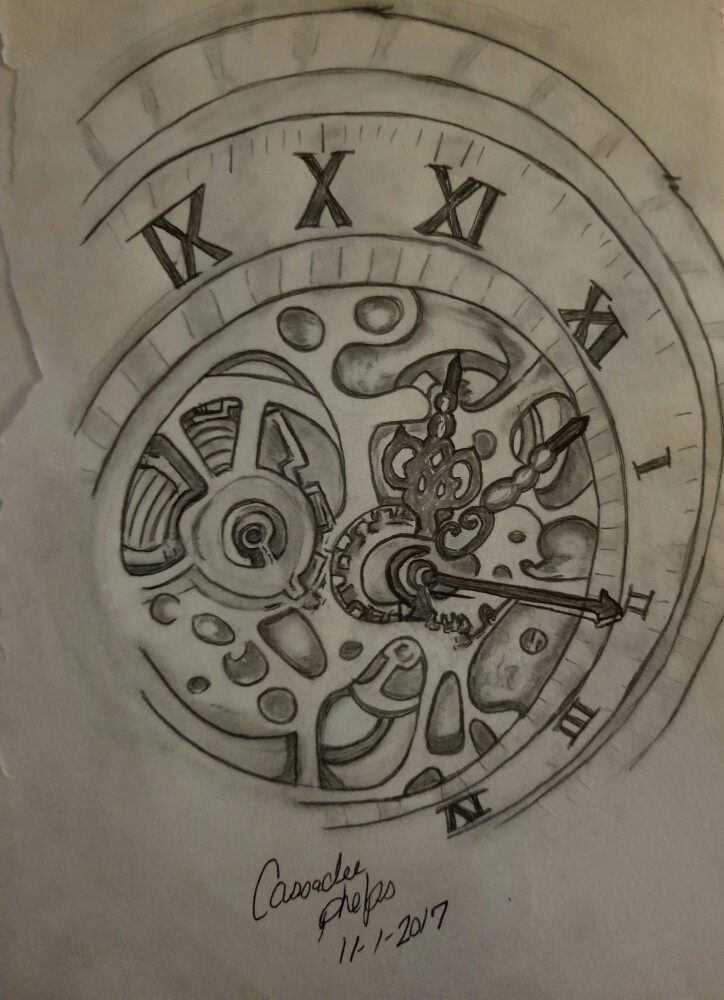 724x1000 Spiral Roman Numeral Clock With Exposed Gears My Sketches