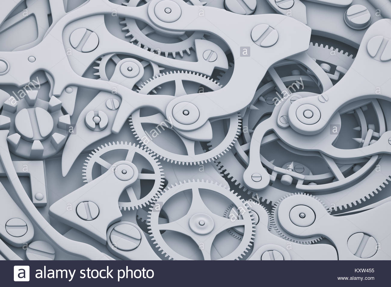 1300x956 Watch Mechanism 3d Illustration With Gears In Grayscale Colors