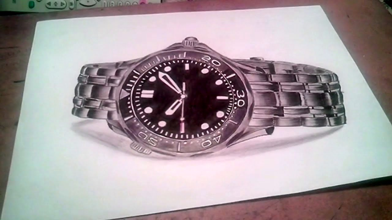 1280x720 3d Hyper Realistic Hand Watch Drawing