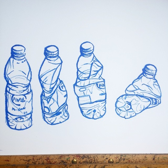 640x640 water bottle drawing oil pastel on paper
