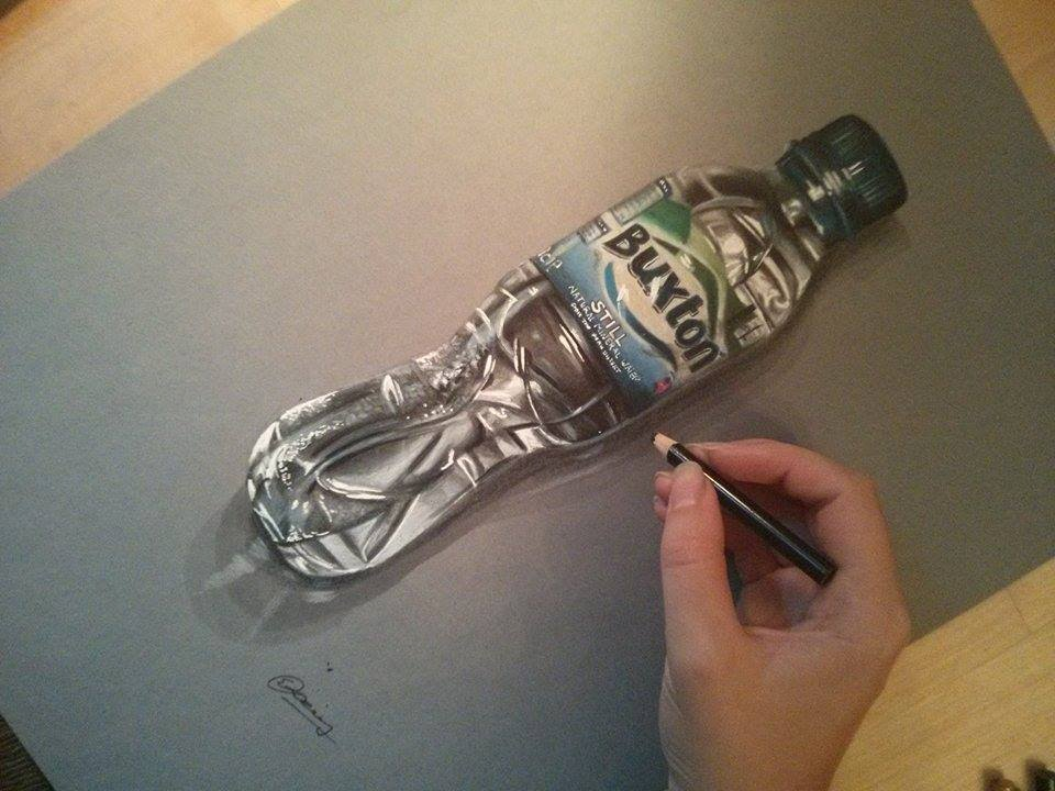 960x720 Realistic Water Bottle Speed Drawing