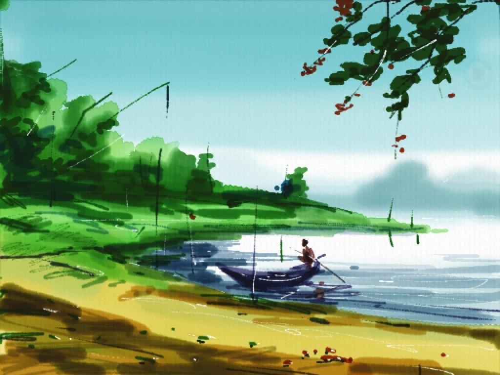 1024x768 Auryn Ink Watercolor Drawing Ipad App