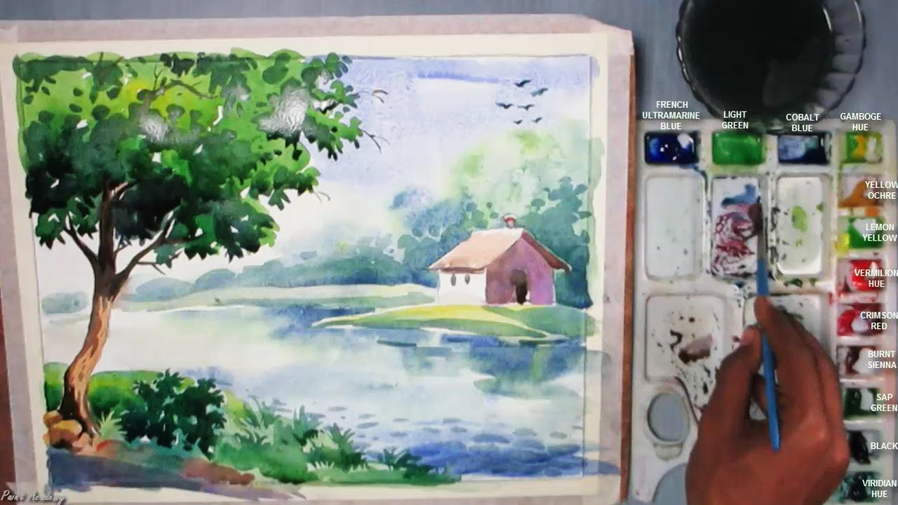 1280x720 Beginners Watercolor How To Draw A House Landscape Episode 3