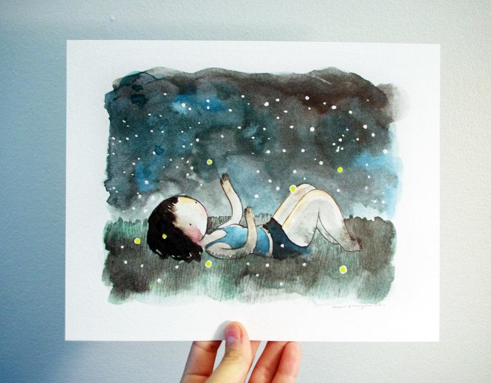 1000x780 Fireflies 8x10 Print Watercolor Drawingnd Painting