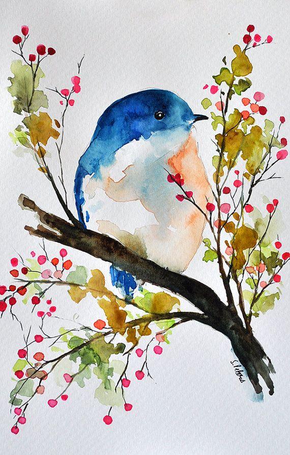 570x893 Pintura Original De La Acuarela En Una Primavera Aamin