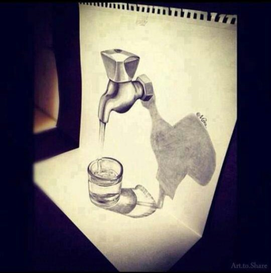 540x545 3d Drawing Of A Water Faucet Amazing 3d Art Water