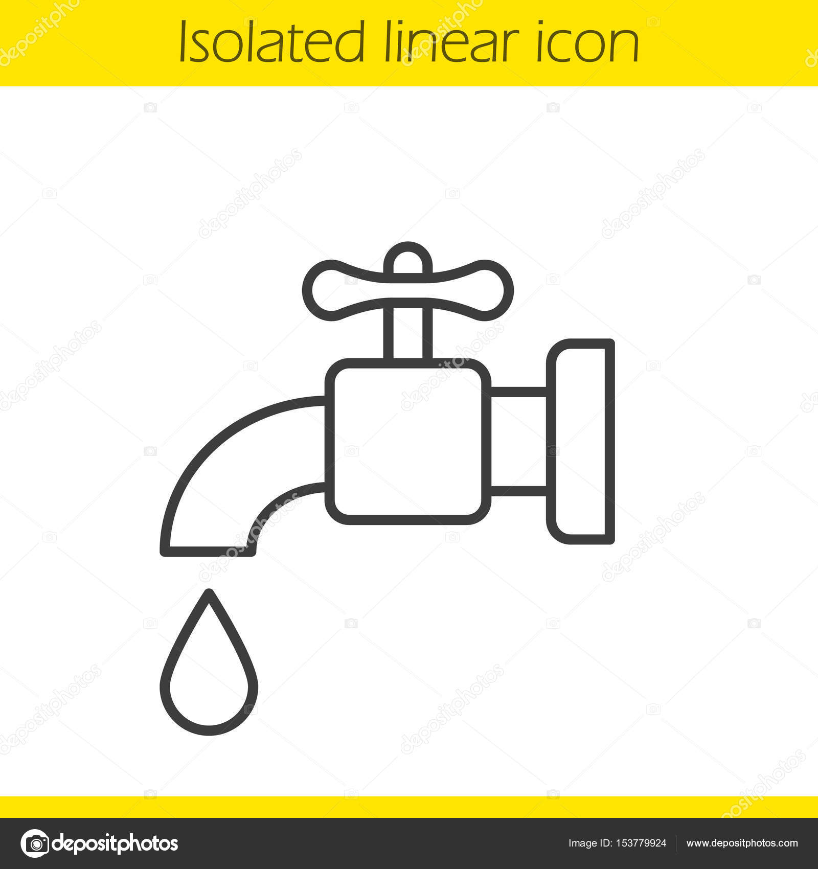 1600x1700 Water Faucet Linear Icon Stock Vector Bsd