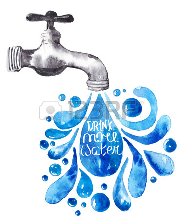 373x450 Watercolor Faucet With Water Drops Over White, Vector Illustration