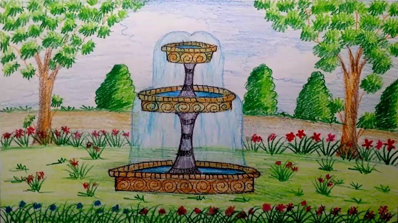 1280x720 How To Draw Garden Fountain Step By Step By Using Water Color