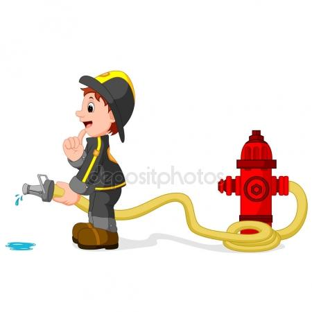 450x450 A Simple Drawing Of A Fireman Holding A Hose Stock Vector
