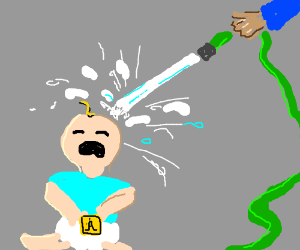 300x250 Baby Taking Water To The Face From Water Hose (Drawing By Andrew.)