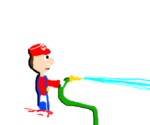 300x250 Mustache Less No Feet Mario Sprays Water Hose (Drawing By