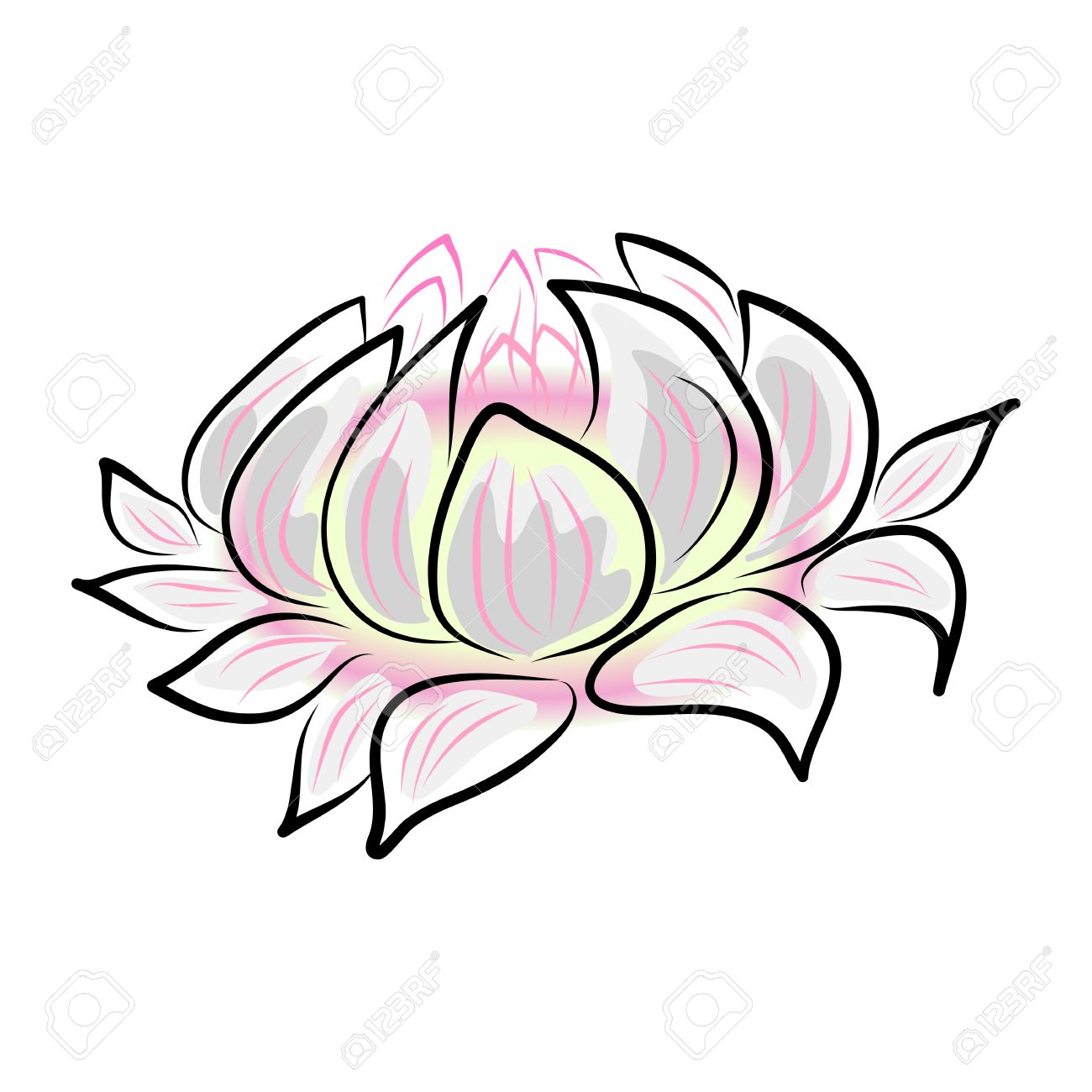 1300x1300 Hand Drawing Water Lily, Lotus, Flower. Royalty Free Cliparts