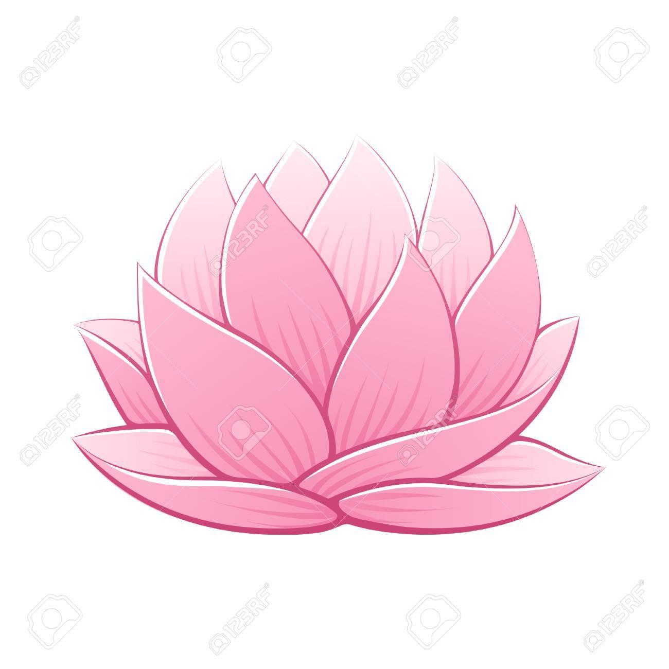 1300x1300 Pink Lotus Flower Vector Illustration. Beautiful Realistic