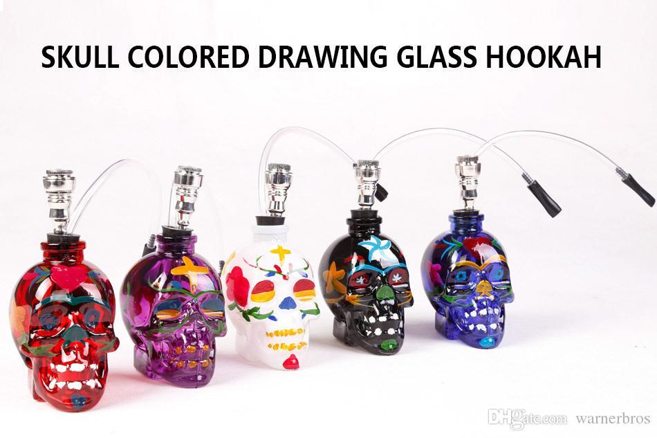 950x633 2018 Hot Painted Skull Glass Hookah Filter Shisha Water Pipe