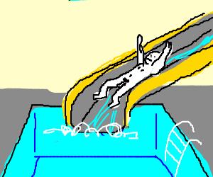 300x250 Pantless Guy Sliding Down The Waterslide
