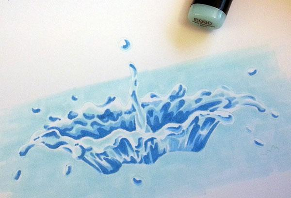 600x409 Drawing A Colorful Water Splash With Copic Markers Copic
