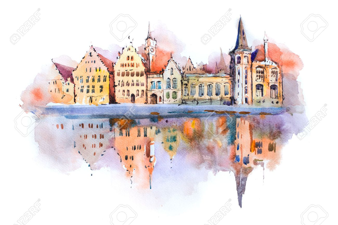 1300x867 Bruges Cityscape Watercolor Drawing, Belgium. Brugge Canal