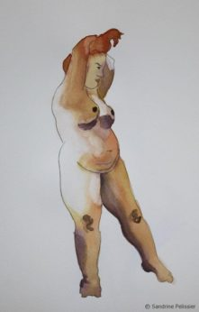 221x346 Watercolor And Pen Figure Drawing