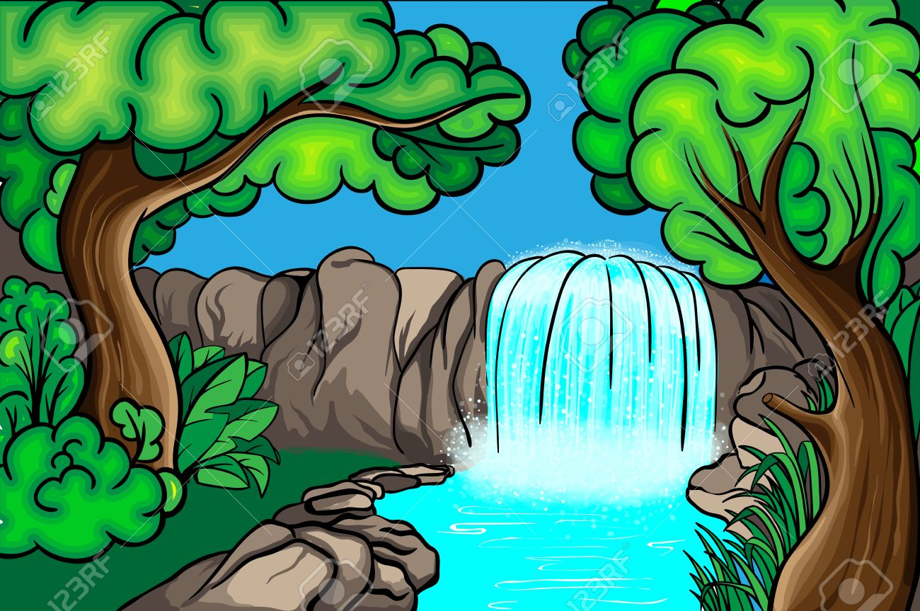 1300x863 Cartoon Style Waterfall In The Forest Royalty Free Cliparts