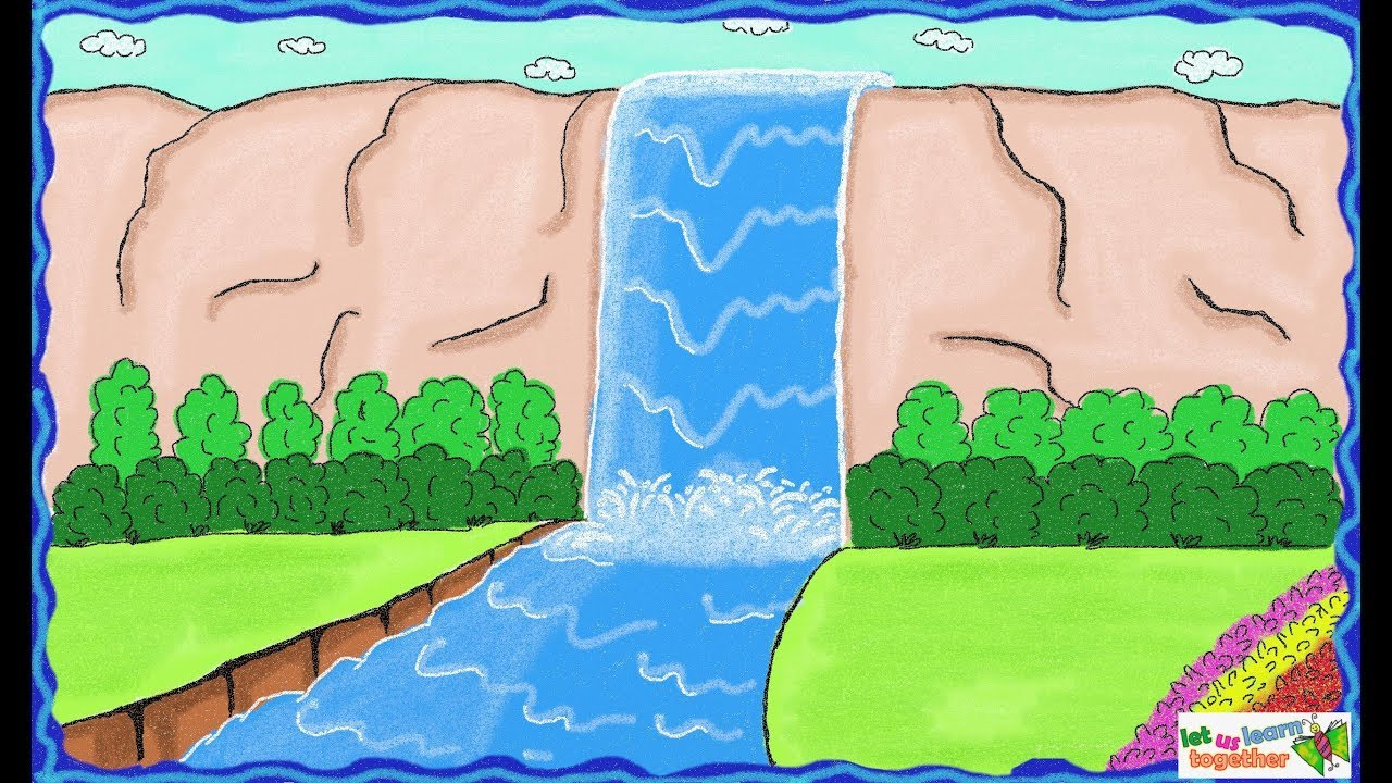 1280x720 Drawing A Simple Waterfall How To Draw Waterfall Drawing