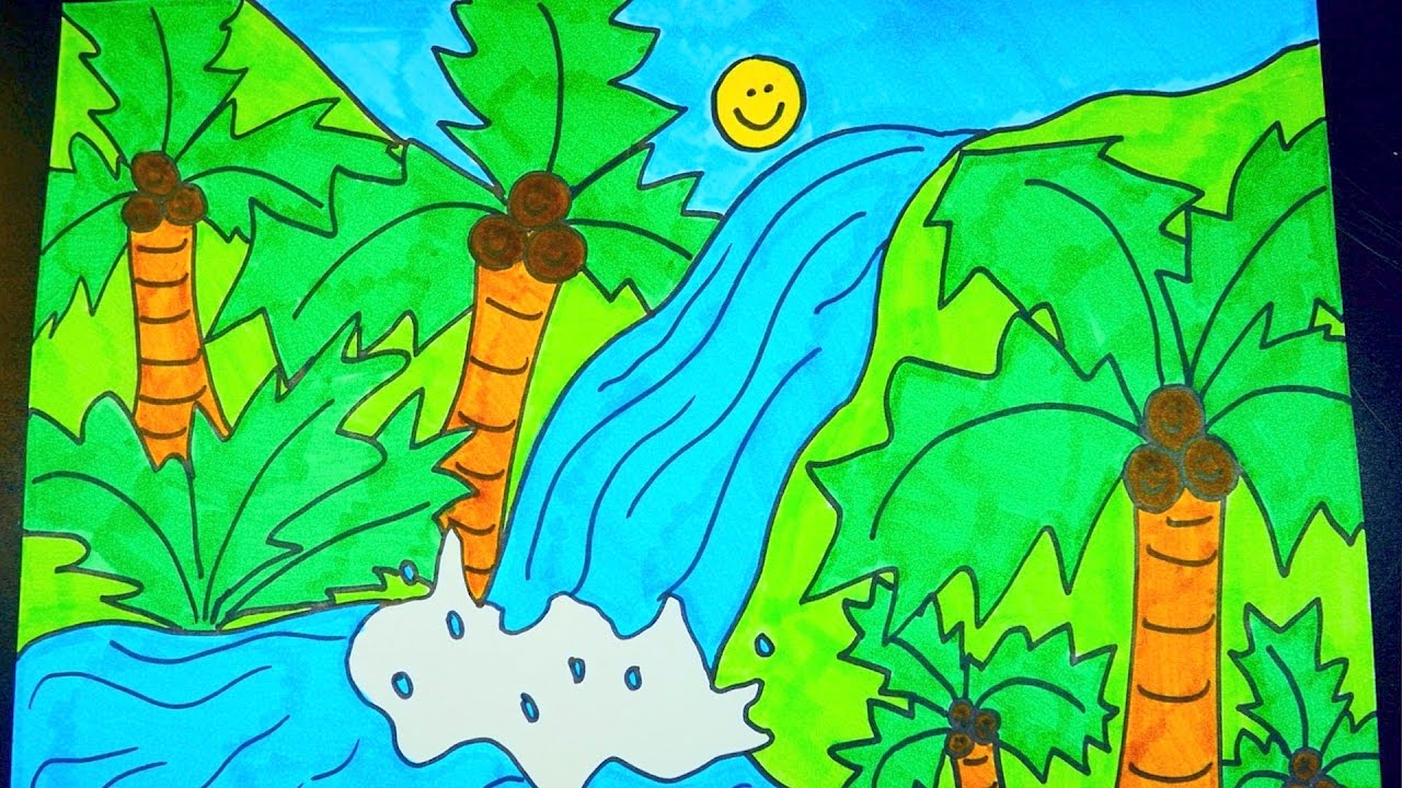 1280x720 How To Draw A Waterfall ~ Kids Coloring Video