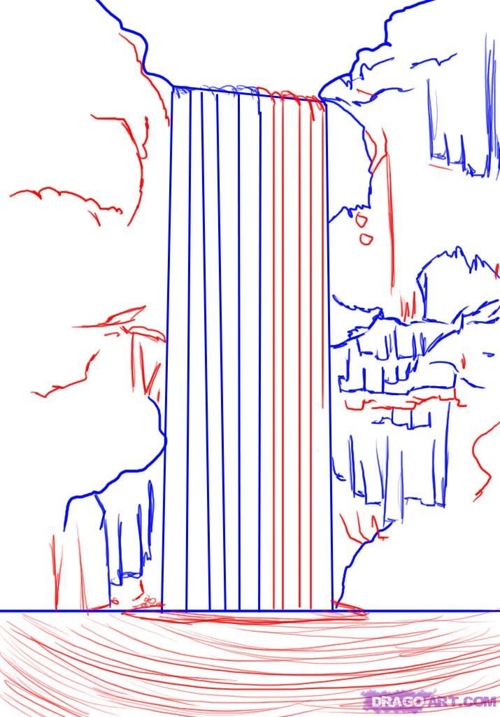 715x1025 How To Draw A Waterfall Step 4 Drawings Drawings