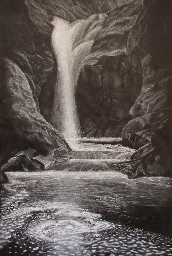 604x900 black and white waterfall drawing by svetlana rudakovskaya