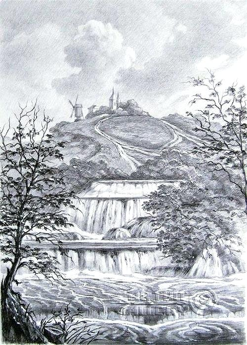 500x700 Landscape Pencil Drawings Landscape With Waterfall Landscape
