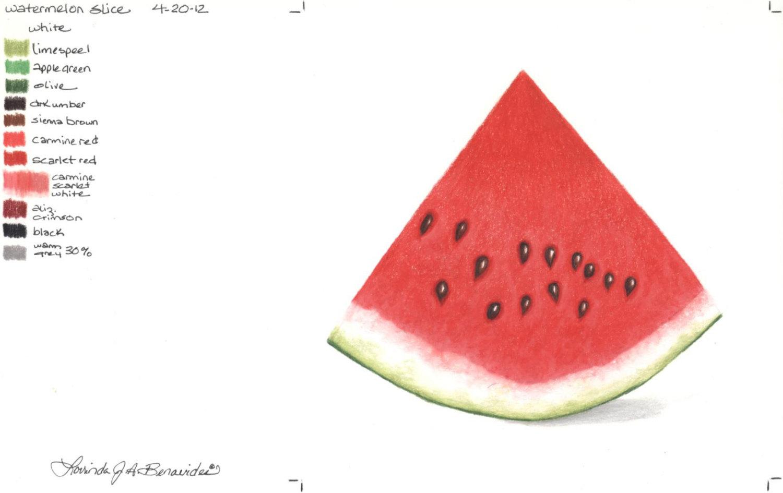 1500x945 Watermelon Slice. Photo Realistic Colored Pencil Art