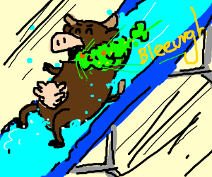 300x250 Cow Barfing While Going Down A Waterslide (Drawing By Scott Triffle)