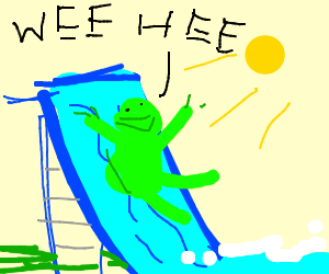 300x250 Kermit On A Waterslide (Drawing By Funnysnek)