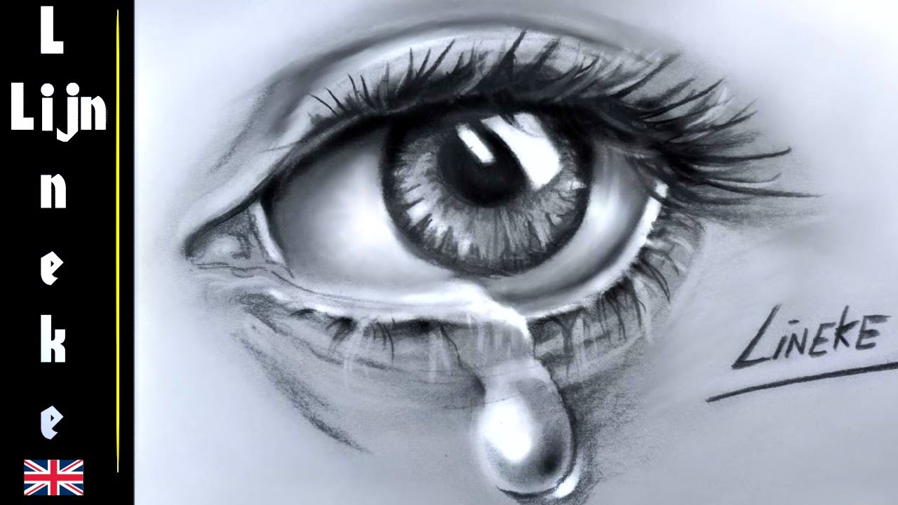 1280x720 Realistic Eye And Teardrop Drawing Charcoal And Pastel Pencil