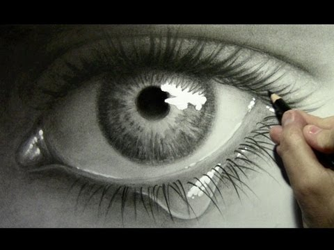 480x360 Realistic Eye With Teardrop Drawing Time Lapse