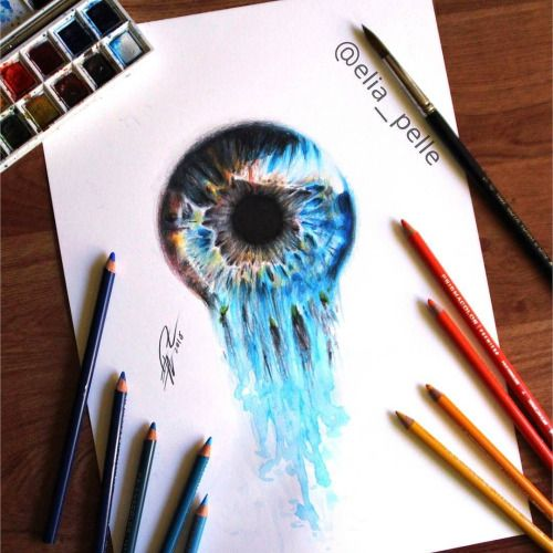 500x500 Watery Eye Surreal Iris Created With Water Color Amd Watery