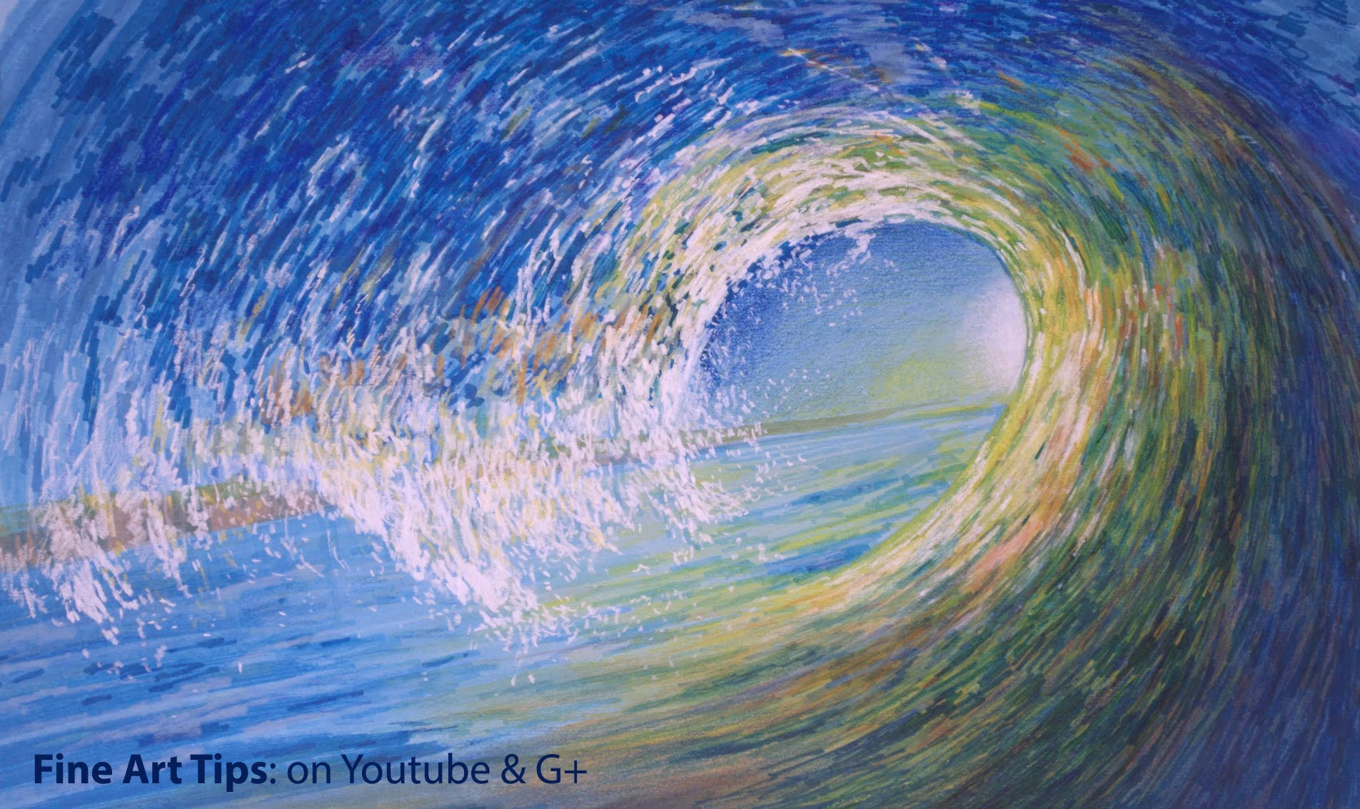 how to draw waves with pencil