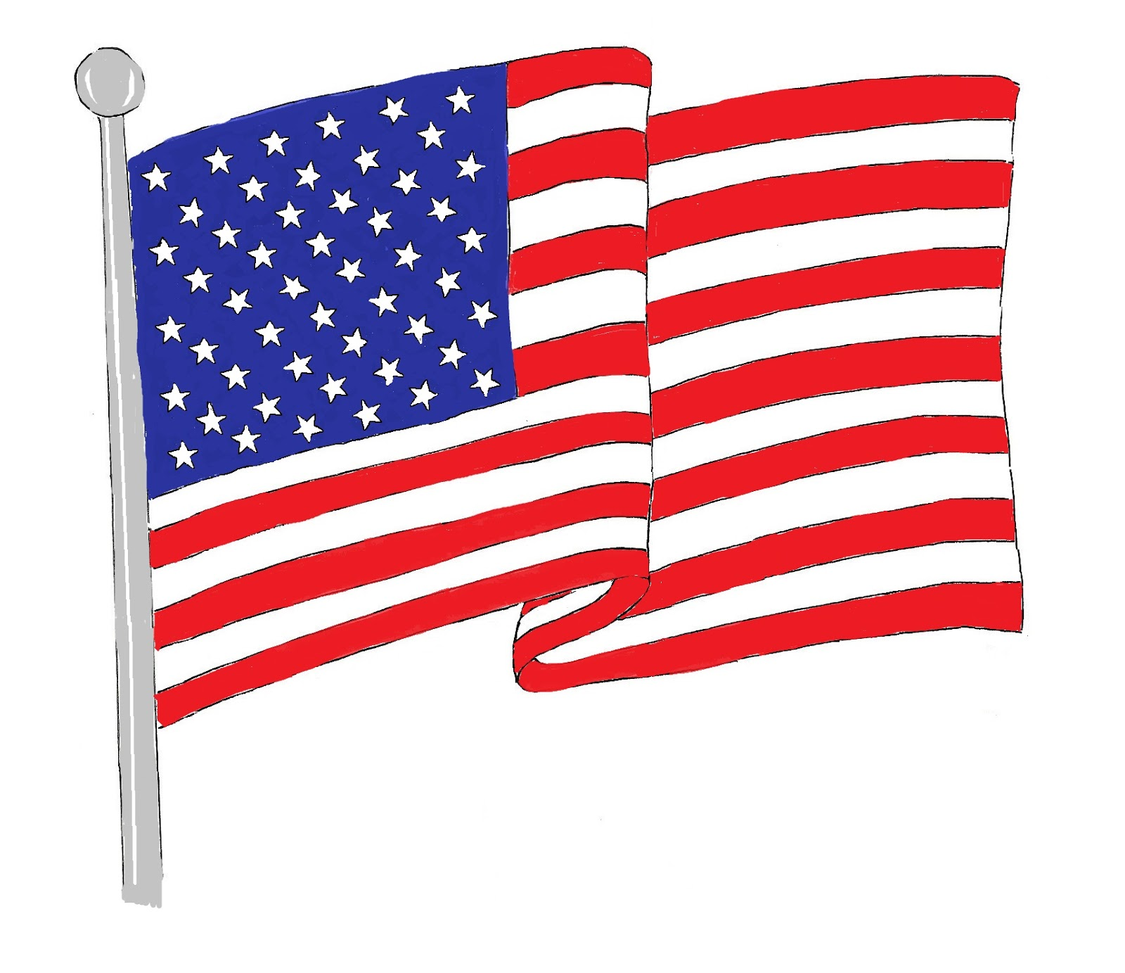 1600x1383 Waving American Flag Art Class Ideas