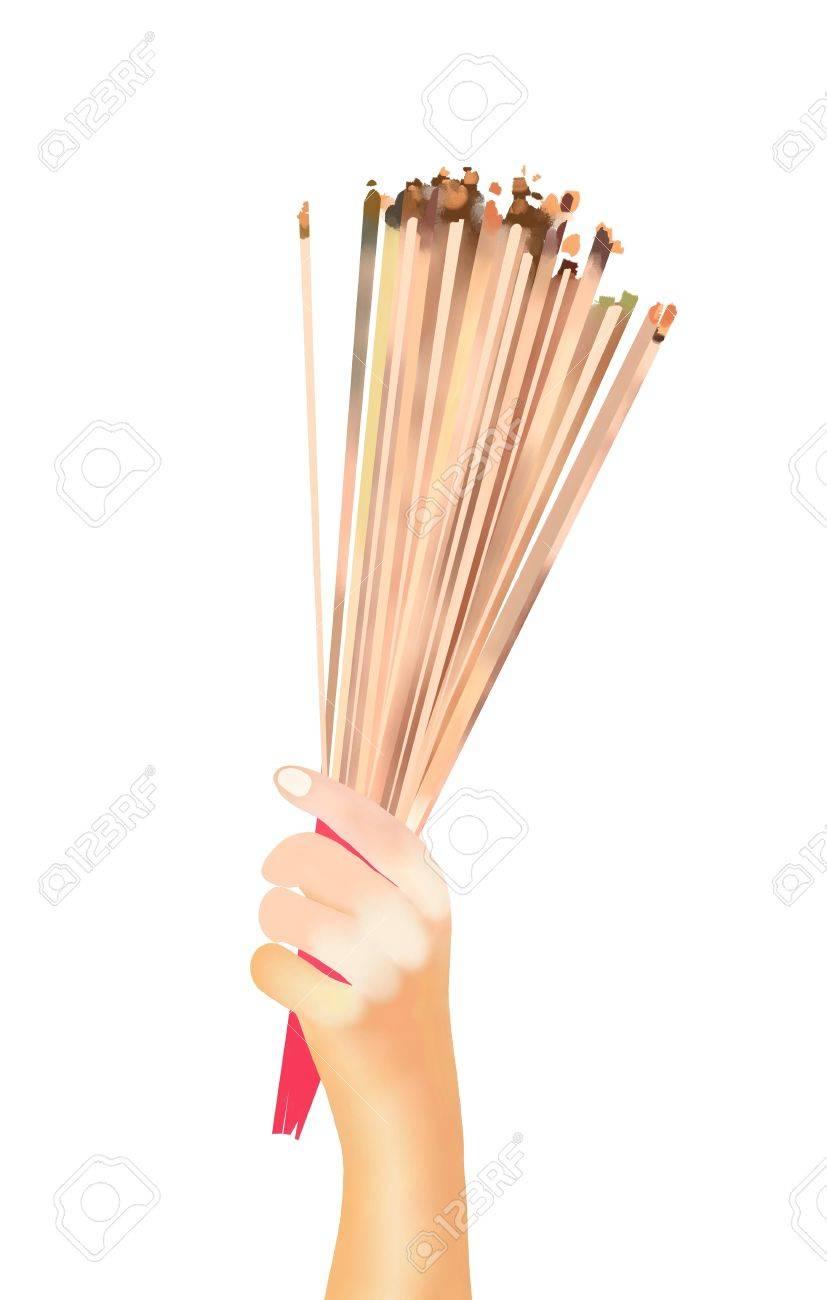 827x1300 Hand Drawing, Prayer Holding And Waving Smoking Incense Sticks