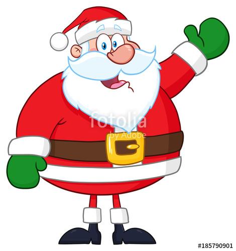 470x500 Happy Santa Claus Cartoon Mascot Character Waving. Hand Drawing