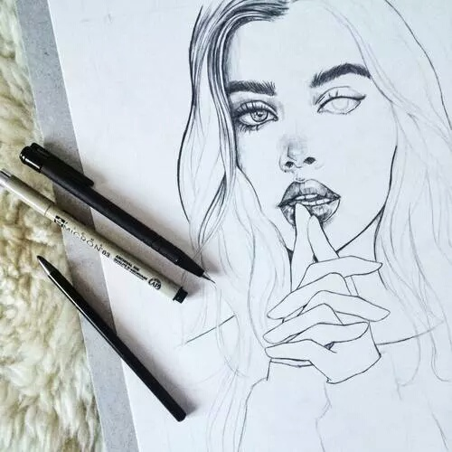 500x500 Girl, Beautiful And Art Image On We Heart It Sketches