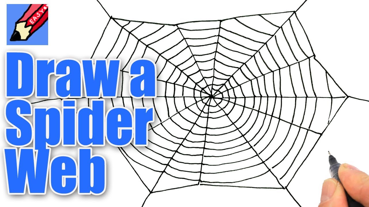 1280x720 How To Draw A Spider's Web For Halloween Real Easy