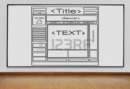 450x310 Drawing Template Website On Concrete Wall In Room Stock Photo