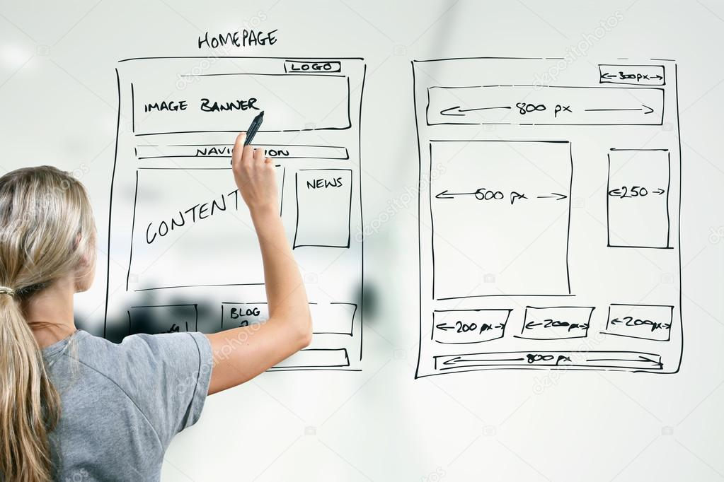 1023x682 Designer Drawing Website Development Wireframe Stock Photo