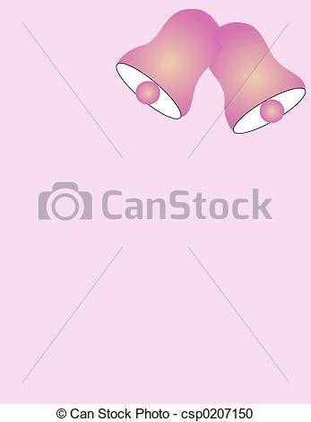 347x470 Wedding Bells Over Light Pink Background. Stock Illustration