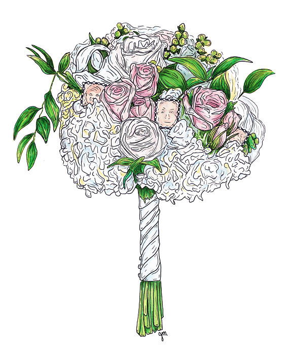 570x706 Custom Wedding Bouquet Flowers Drawing Illustration Print