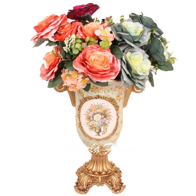 640x640 Euro Style Luxury Pearl Fabric Silk Rose Wedding Flower Bouquet