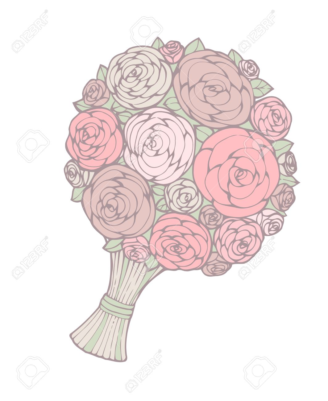 1063x1300 Floral Wedding Bouquet For Your Design, Illustration Royalty Free