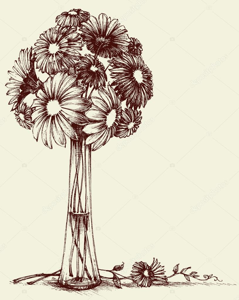815x1023 Vase Of Flowers, Wedding Bouquet Sketch Retro Style Stock Vector