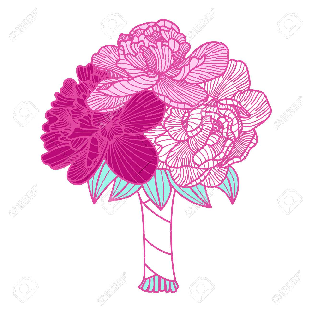 1300x1300 Wedding Bouquet Illustration Made Of Peonies Royalty Free Cliparts